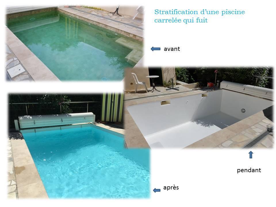 stratification d 39 une piscine carrel e qui fuit chateauneuf le rouge r novation de piscine. Black Bedroom Furniture Sets. Home Design Ideas